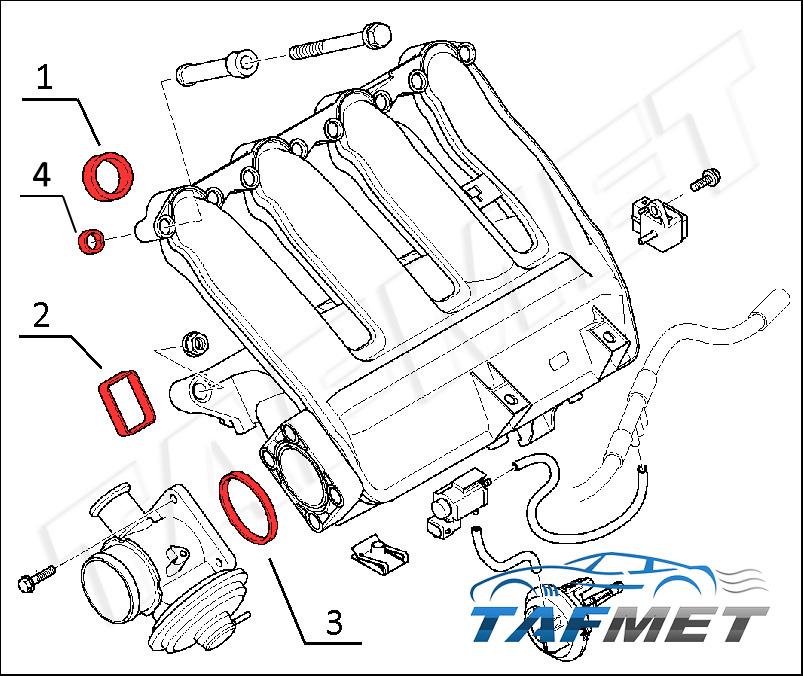 Set 4 Zylinder Dichtungen Ansaugbrücke Ansaugkrümmer für BMW Rover 2.0 M47
